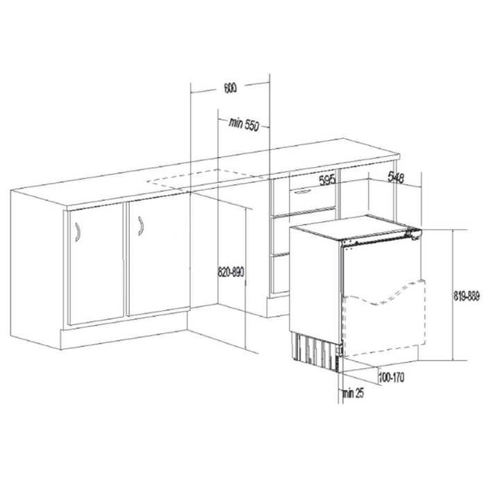 Вбудований холодильник Freggia LSB1020